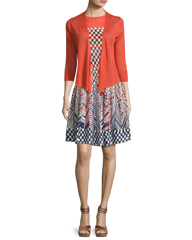 Fiore Sleeveless Printed Twirl Dress, Multi, Petite