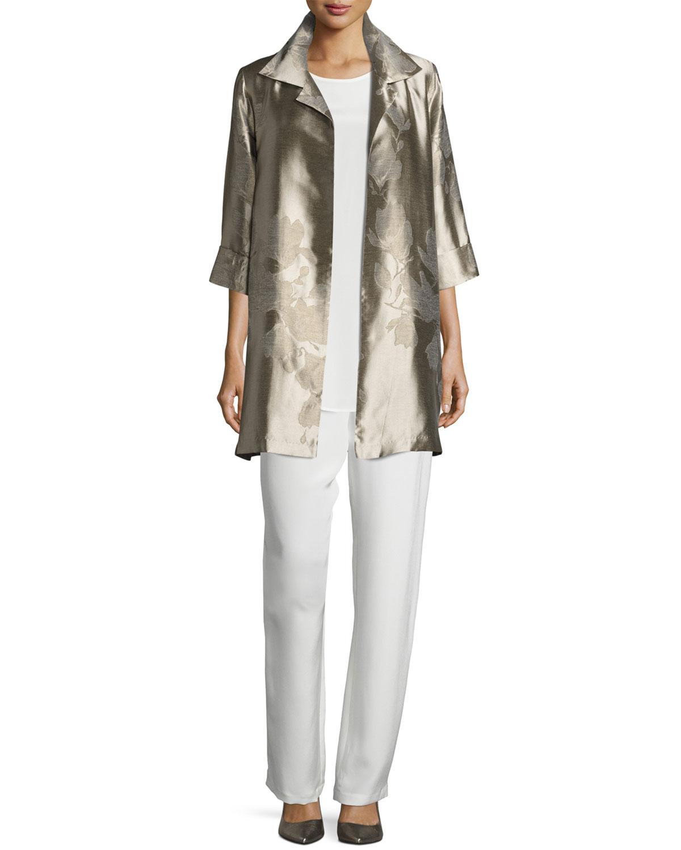 Silk Crepe Straight-Leg Pants, Plus Size