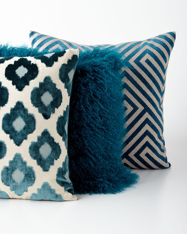Teal Tibetan Lamb Pillow