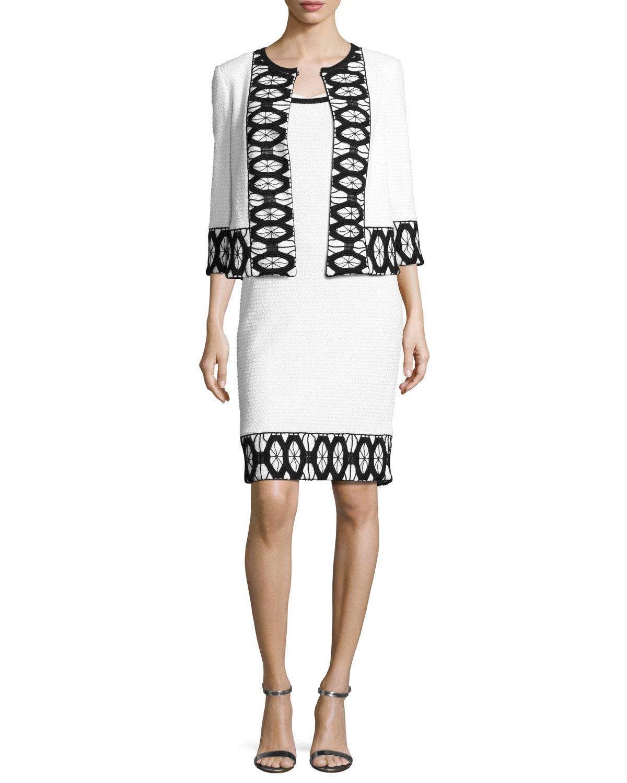 Sara Sleeveless Lace-Trim Sheath Dress, White/Black