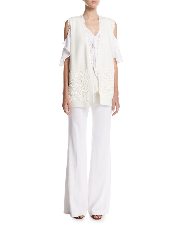 Maxine Long Lace-Trimmed Vest, Ivory