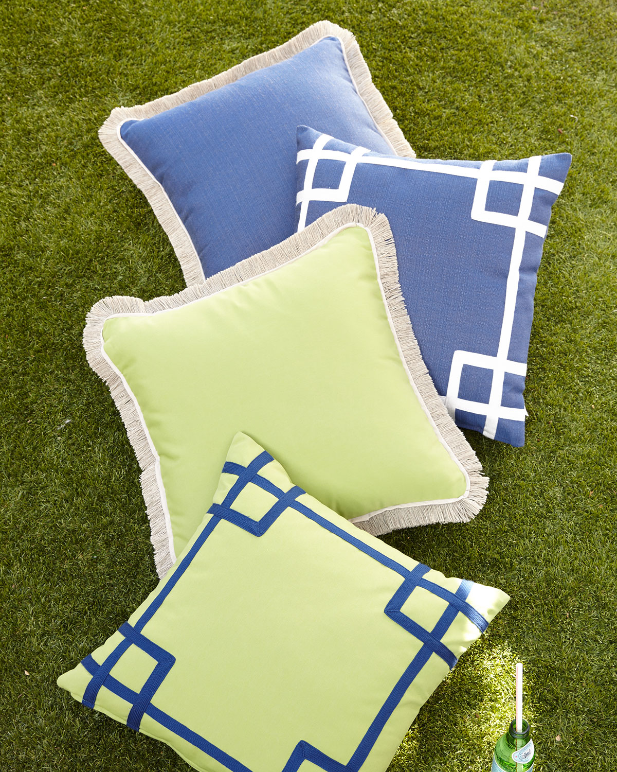 Fringed Green Outdoor Pillow