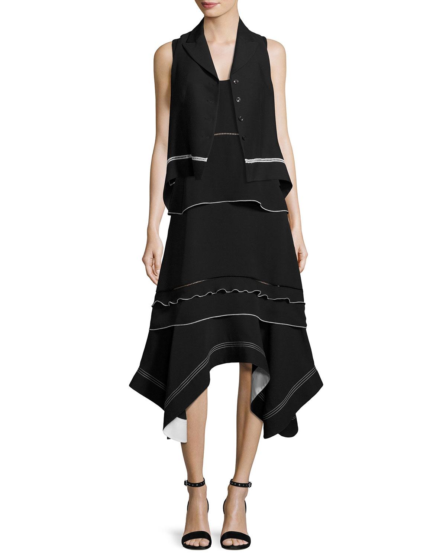 Sleeveless Handkerchief-Hem Midi Dress, Black