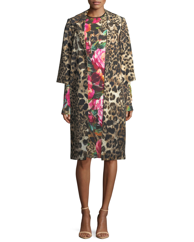 Leopard-Print 3/4-Sleeve Coat, Black