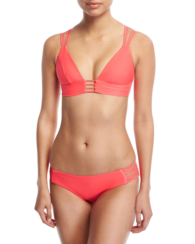 Jaydah Strappy Braided Swim Top, Orange