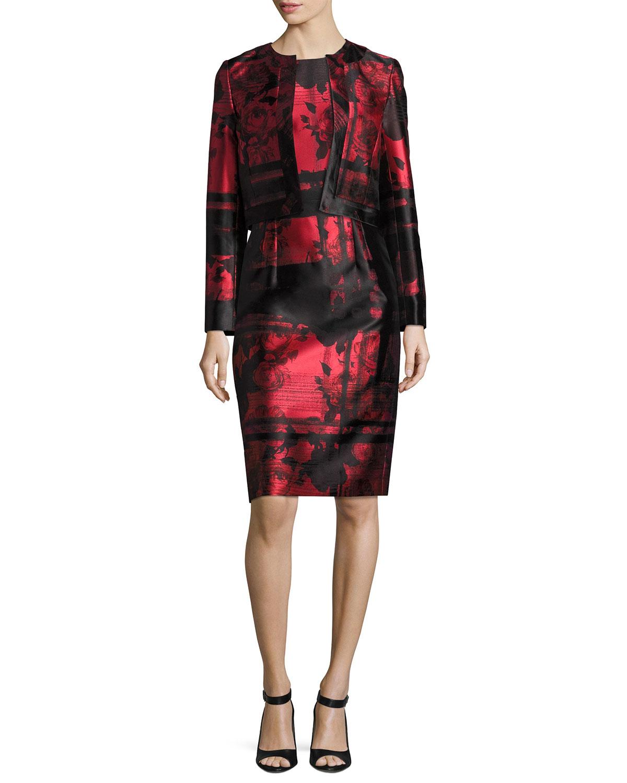 Floral & Stripe Sheath Cocktail Dress, Red/Black