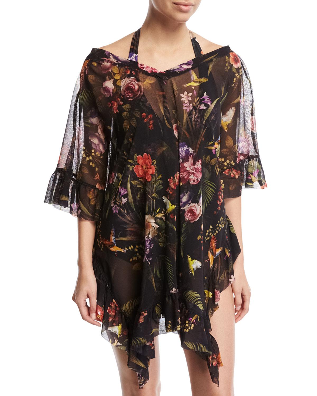 Floral Print Halter One-Piece Swimsuit, Black