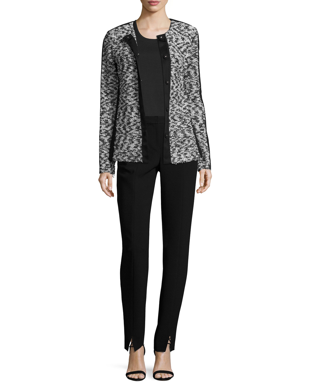Tweed Knit Jewel Neck Jacket W/ Grosgrain Trim