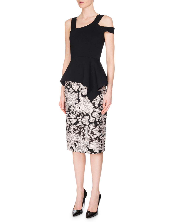 Norley Brocade Fil Coupé Pencil Skirt, Pink/Black