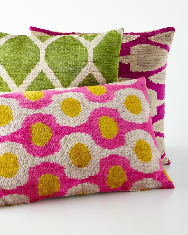 """Green Silk Velvet Pillow, 20""""Sq."""