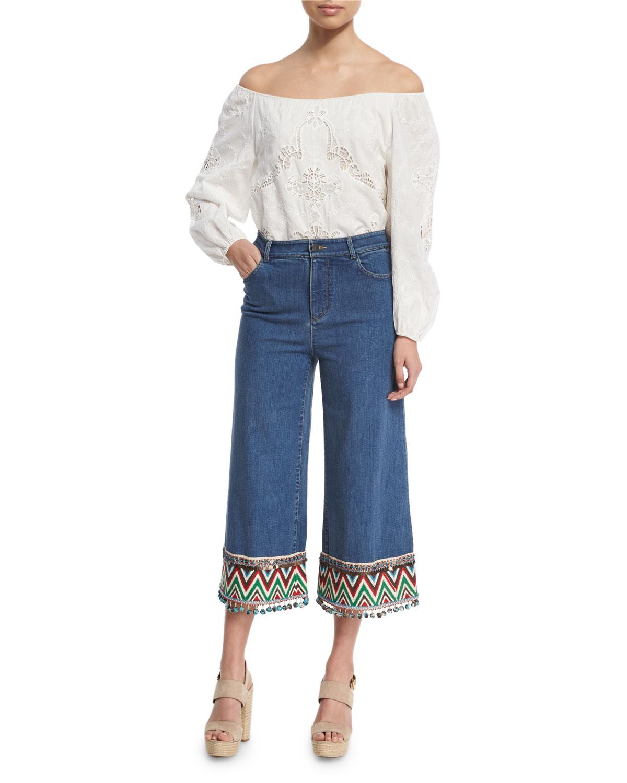 Beta Embroidered Pom-Pom Hem Cropped Jeans, Multi