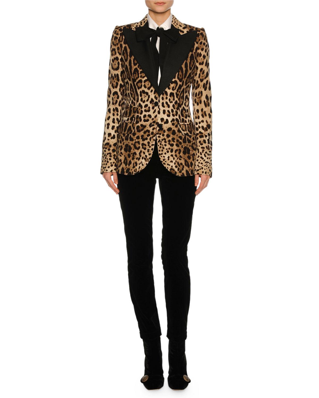 Leopard-Print Tuxedo Jacket