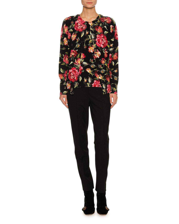 Rose-Print Cashmere Shell Top, Black