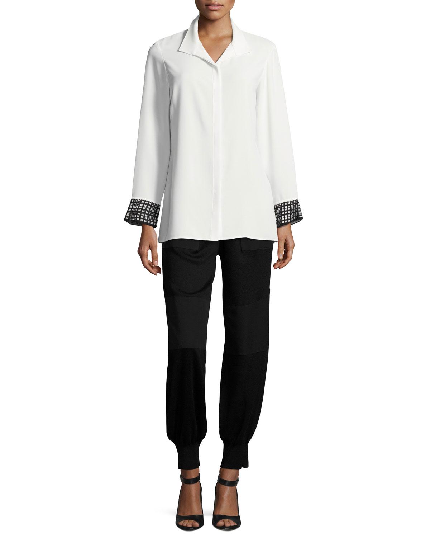 Long-Sleeve Knit Cuffs Button-Front Shirt, Petite