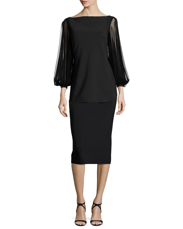 Shanti Mesh-Sleeve Jersey Top