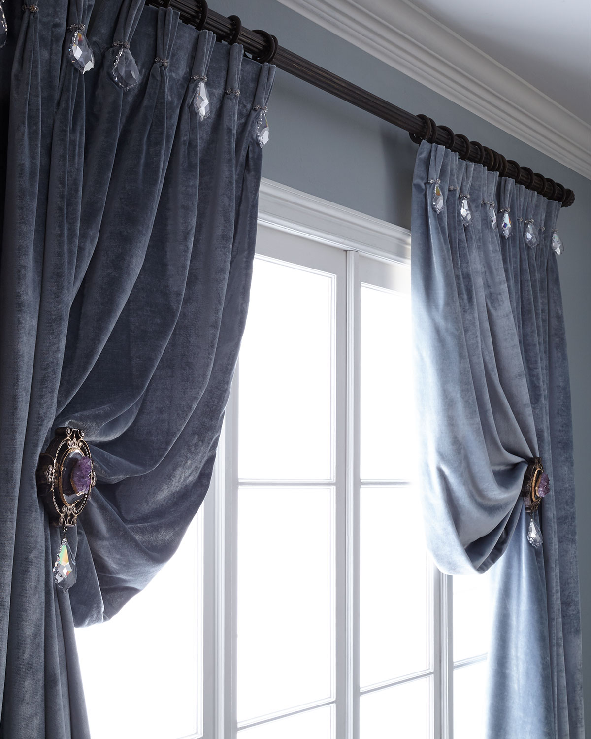 """108""""L Velvet Curtain with Asfour Crystals"""