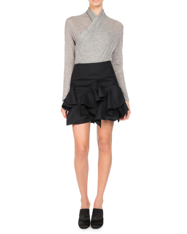 Surplice-Front Cashmere Sweater
