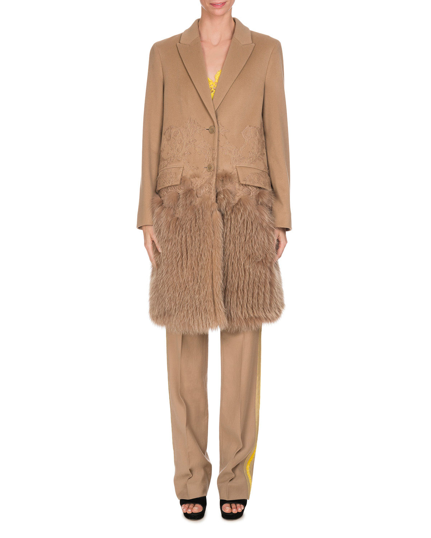 Wool Track-Stripe Straight-Leg Trousers