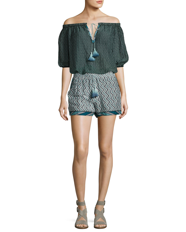 Zigzag Cotton-Silk Tassel Drawstring Shorts, Blue