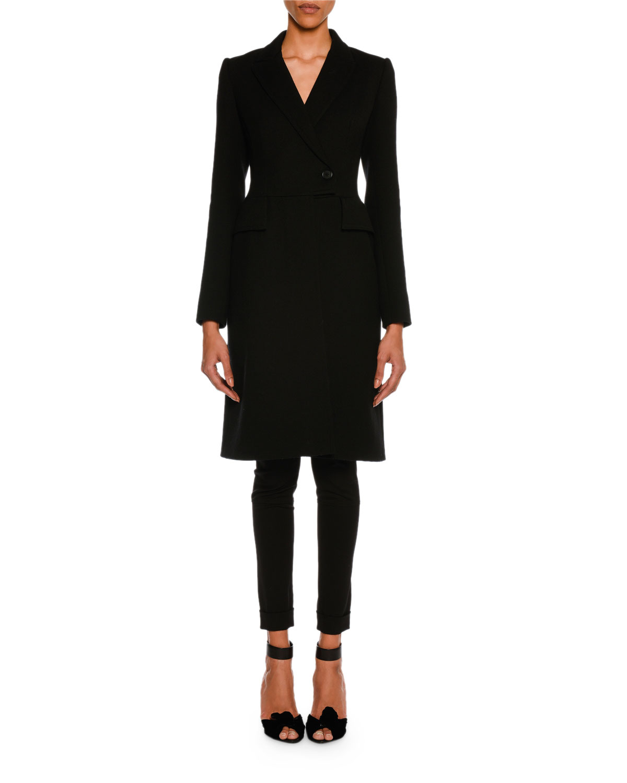 Wool Gabardine Stretch Ankle-Zip Leggings, Black