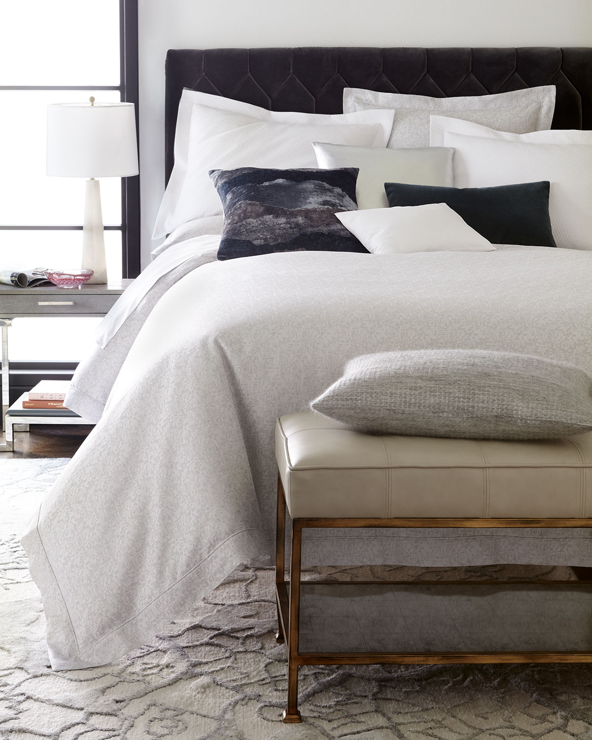 Full/Queen Layered Feathers Jacquard Duvet Cover