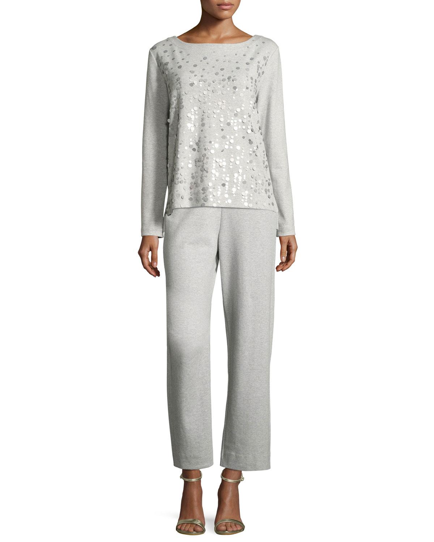 Luxe Cotton Interlock Sequin-Front Top, Petite