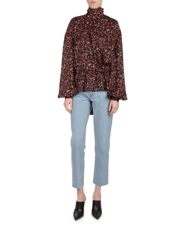 Cali Floral-Print Silk Necktie Top