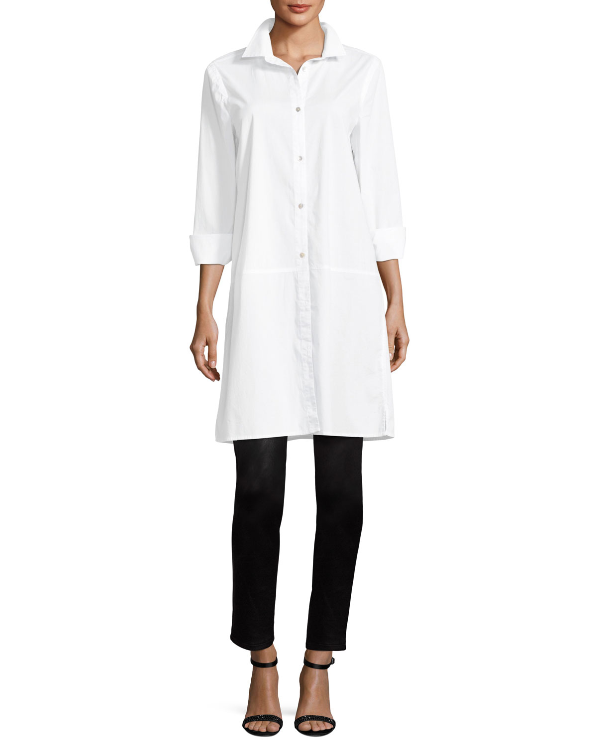 Long-Sleeve Stretch-Cotton Lawn Shirtdress, Plus Size