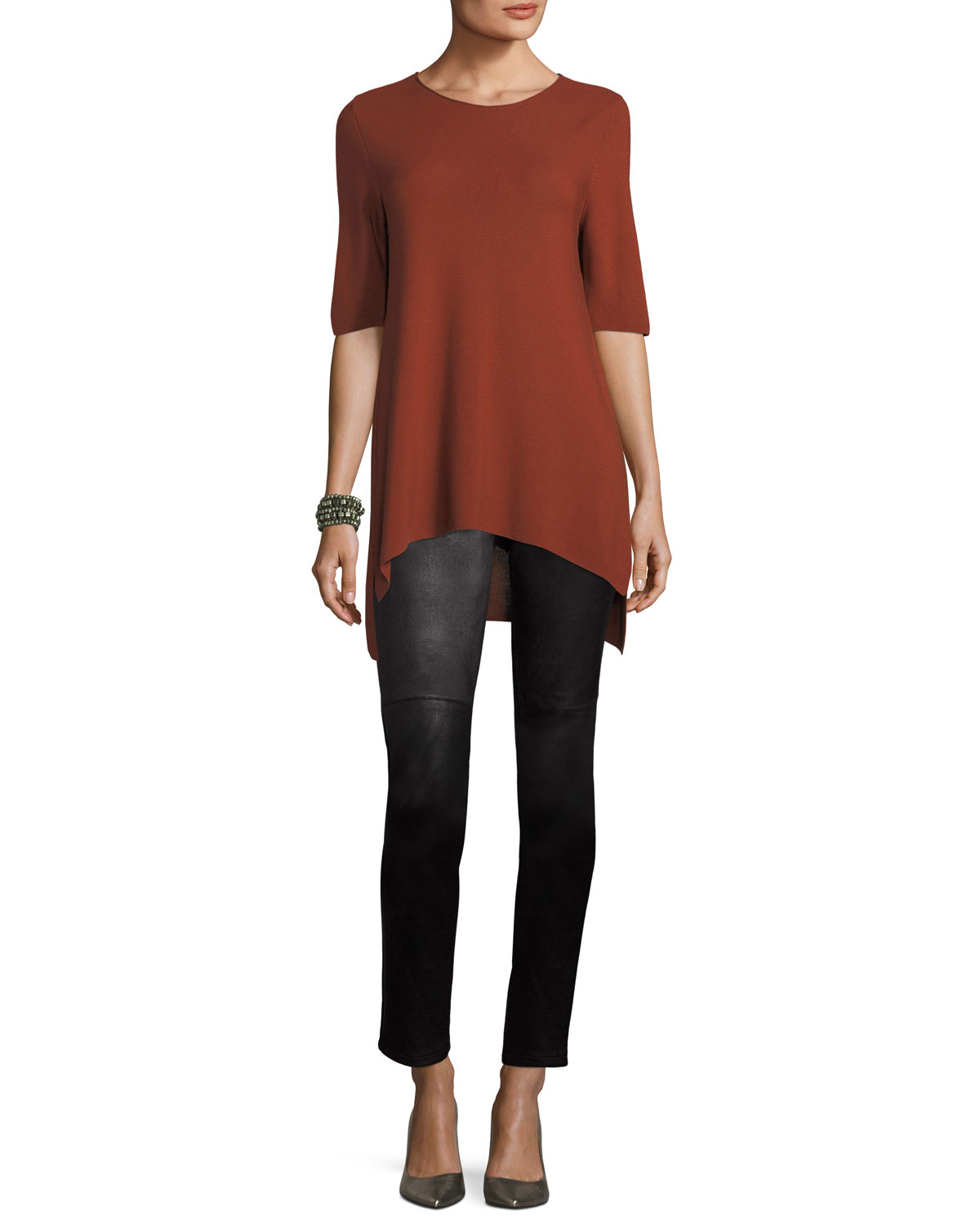 Half-Sleeve Tencel Links Sweater, Petite
