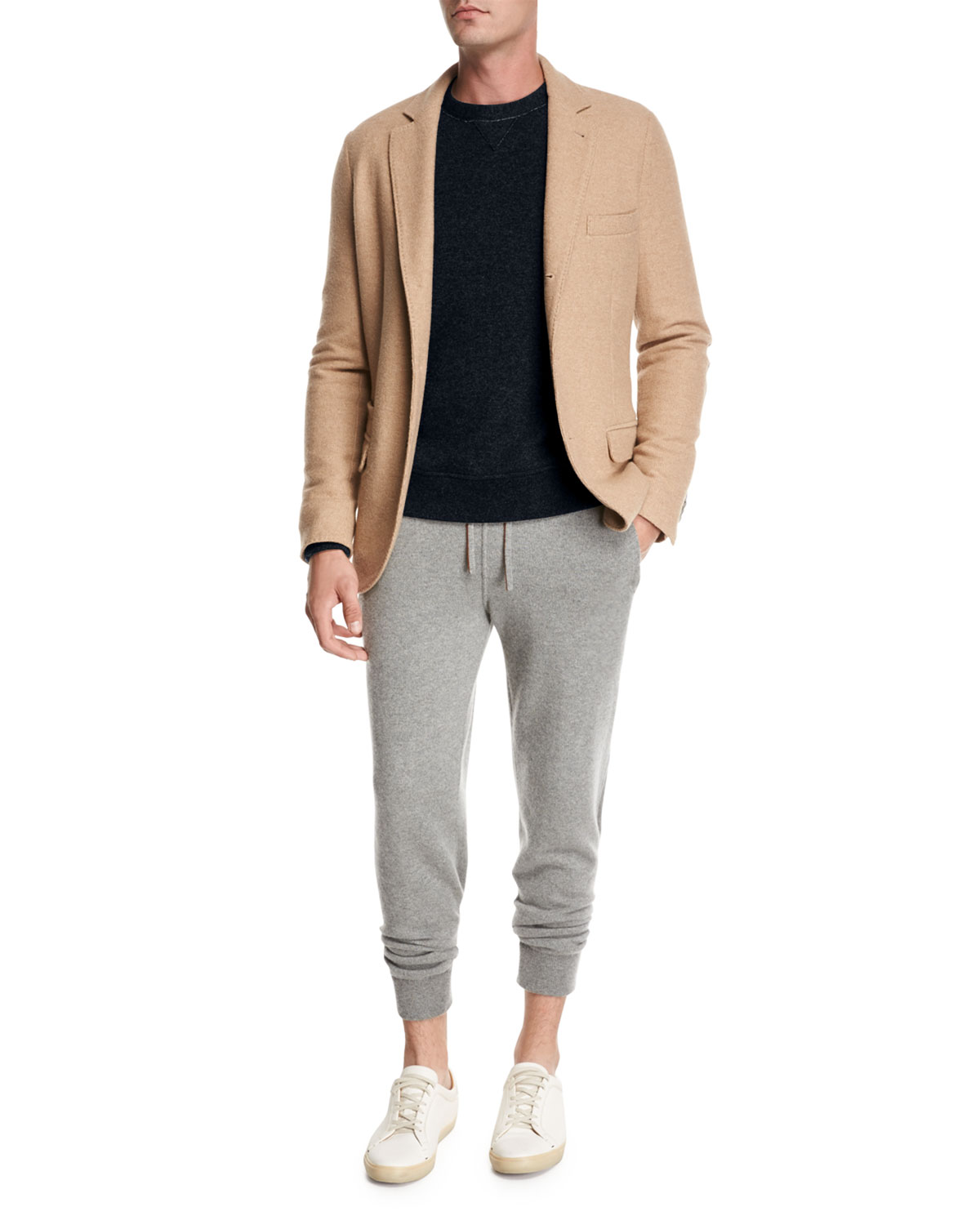 Camel Jersey Three-Button Blazer