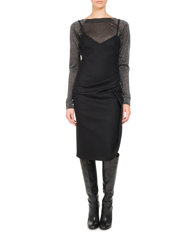 Wool-Cashmere Ruched Slip Dress, Black