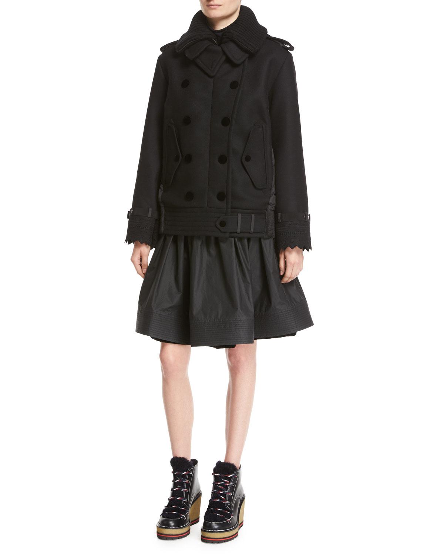 Clarissa Double-Breasted Mixed-Media Coat, Black