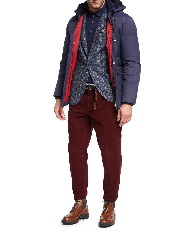 Houndstooth Boucle Sport Jacket, Medium Blue