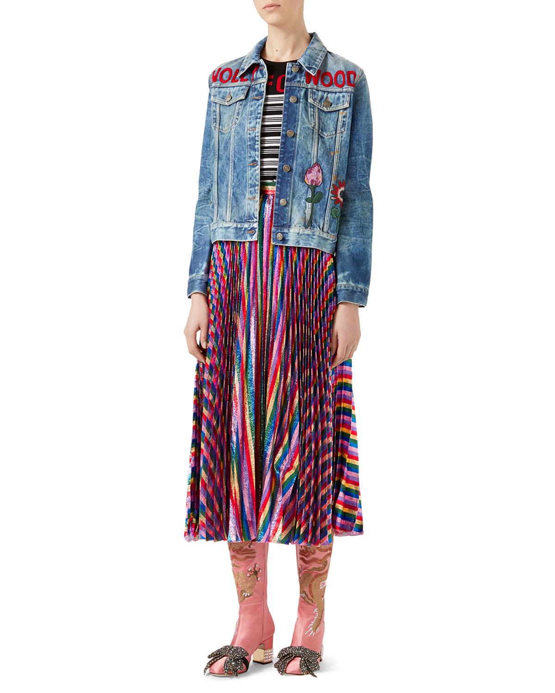 Iridescent Pleated Skirt, Multicolor