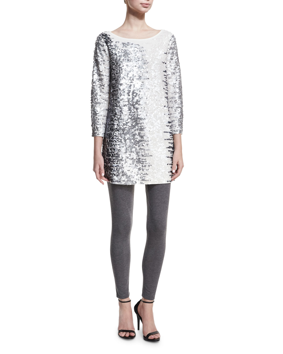 Sequined Boat-Neck 3/4 Sleeve Tunic, Plus Size