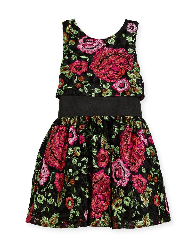 Valentine Elastic-Waist Rose-Print Dress, Black, Size 7-16