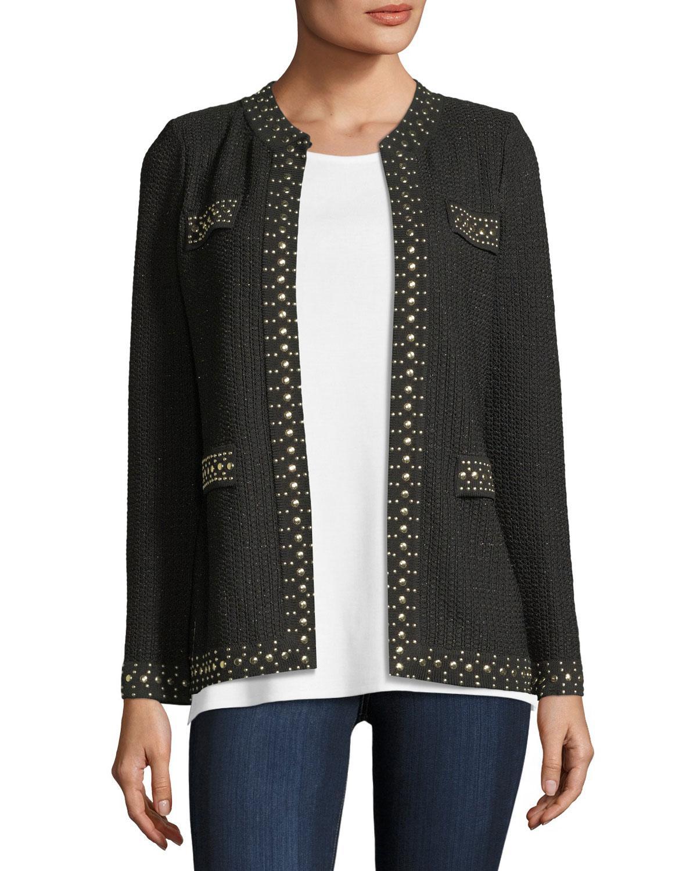 Stud-Trim Knit Jacket, Plus Size