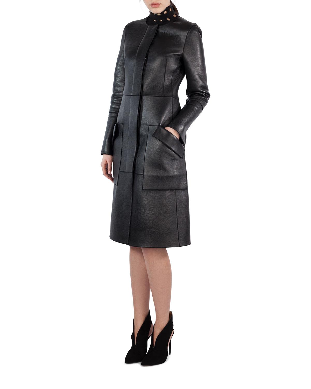 Napa Leather Paneled Zip-Slit Pencil Skirt