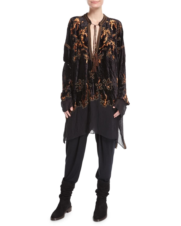 Embroidered Velvet Tassel-Tie Tunic