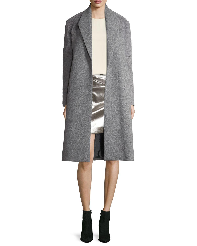 Faux-Wrap Draped Metallic Miniskirt