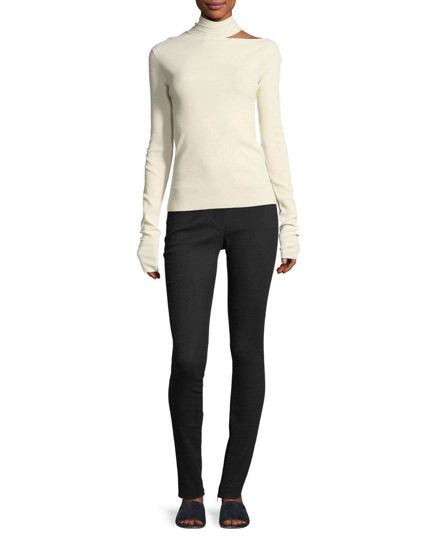 Tieback High-Neck Long-Sleeve Sweater