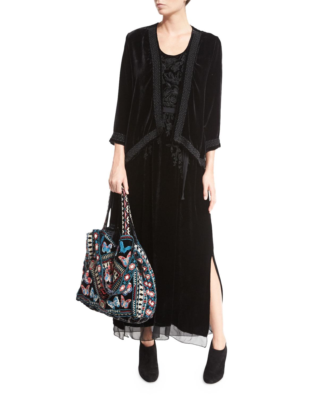 Lorne Velvet Embroidered Tote Bag