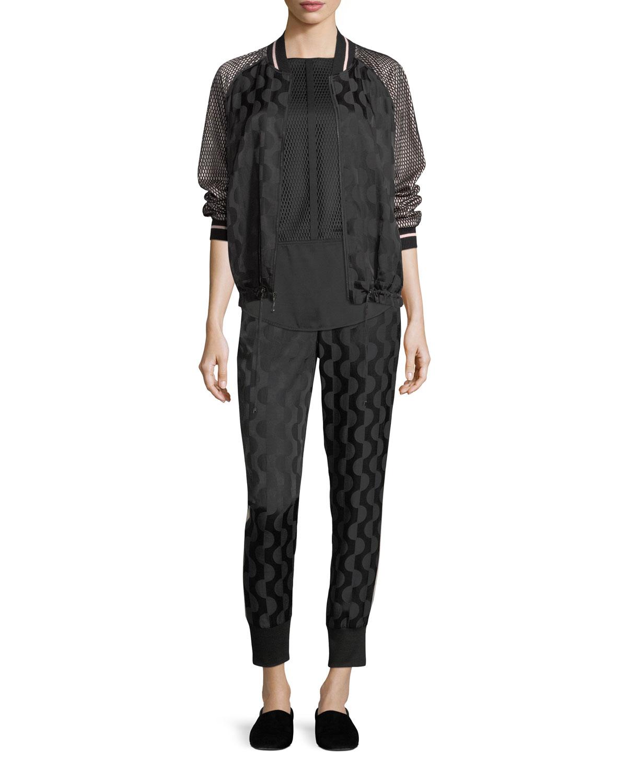 Cotton-Blend Charmeuse Zip-Front Jacket