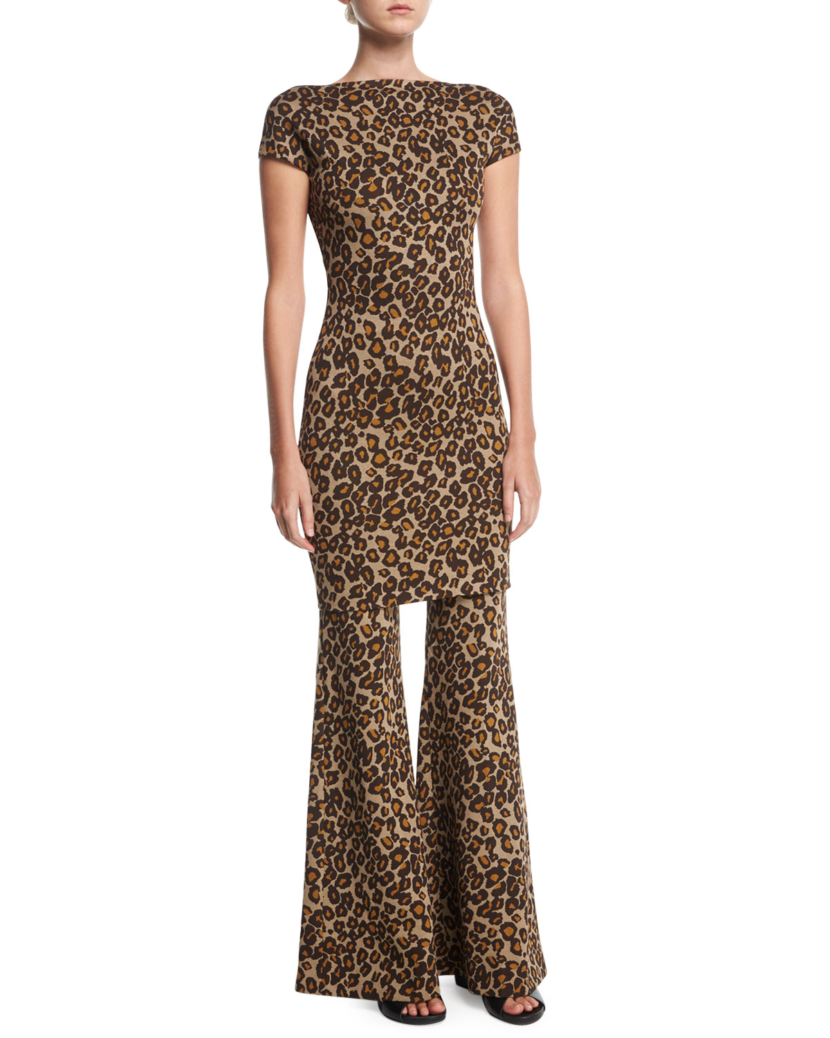 Leopard Fitted Flare-Leg Trousers