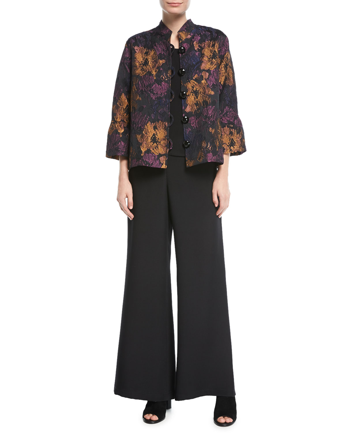 Silk Crepe Wide-Leg Pants, Plus Size