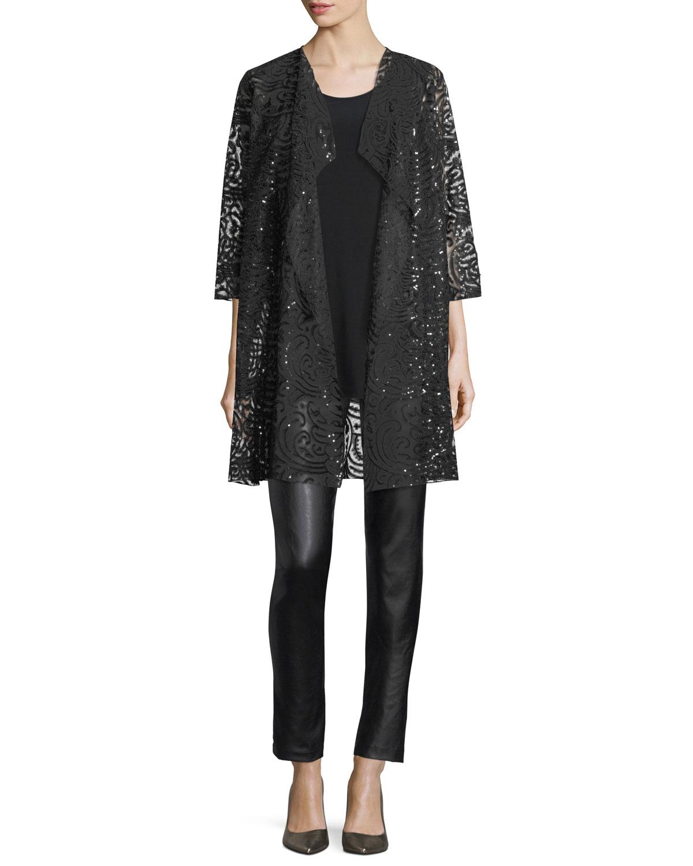 Sequined Lace Draped Jacket, Plus Size