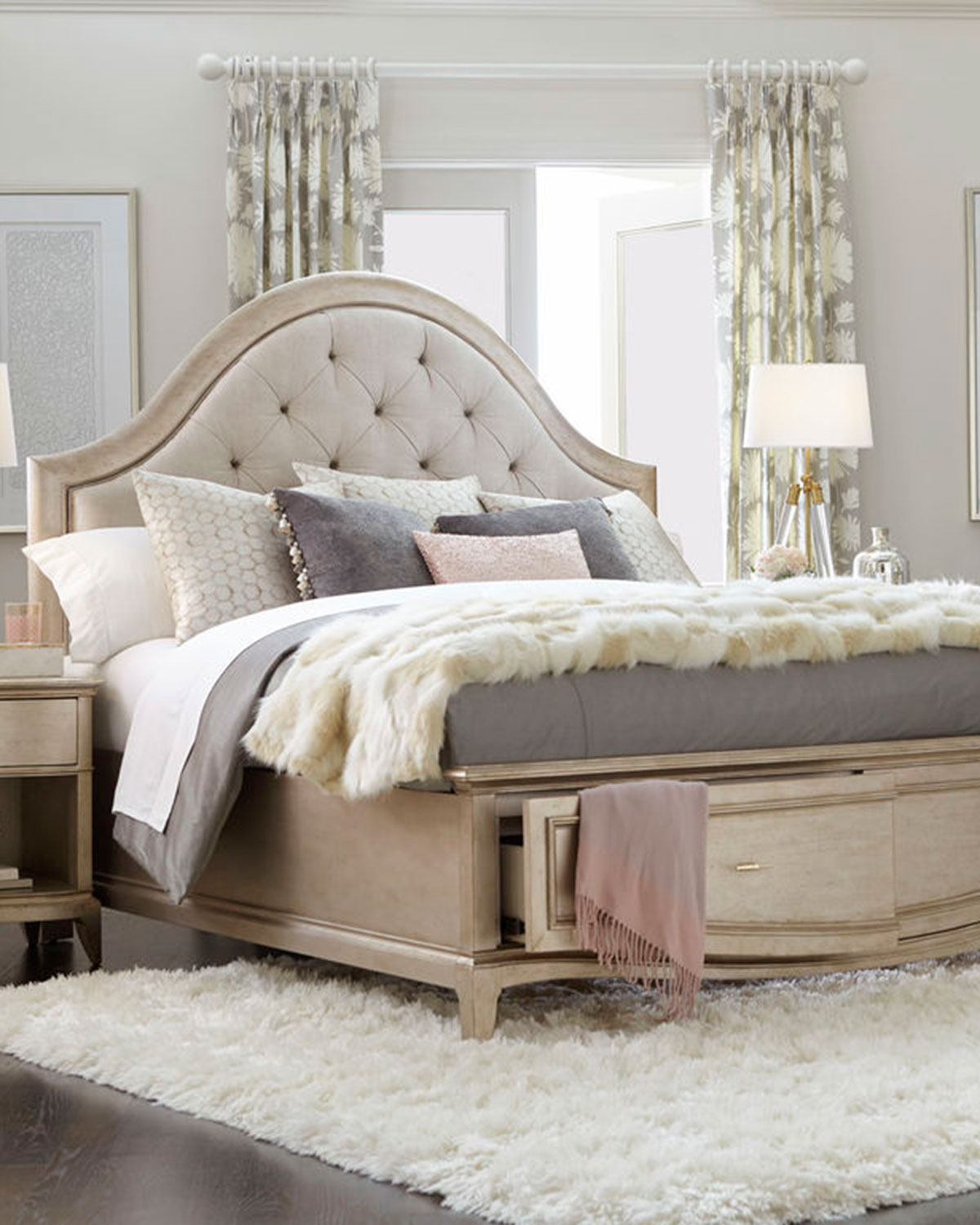 Superb Montane Tufted Queen Bed With Drawers