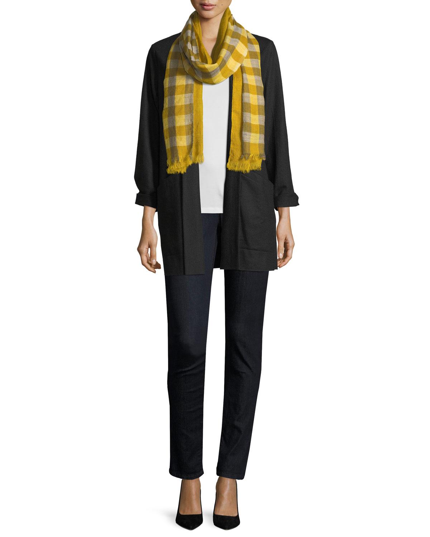 Boiled Wool Jersey Long Jacket, Plus Size
