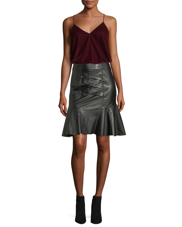 Lace-Up Peplum Lamb Leather Skirt