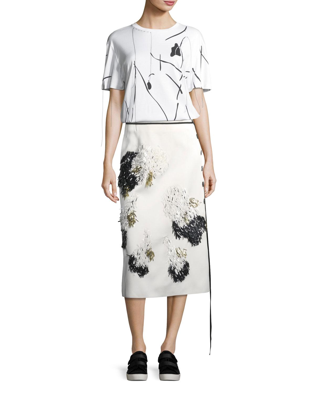 Embellished Side-Button Midi Skirt